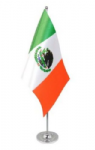 Mexico Desk / Table Flag with chrome stand and base.